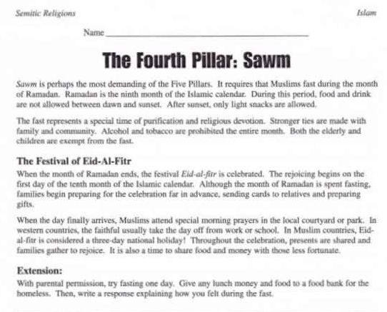 Try fasting for ramadan lesson plan WVA