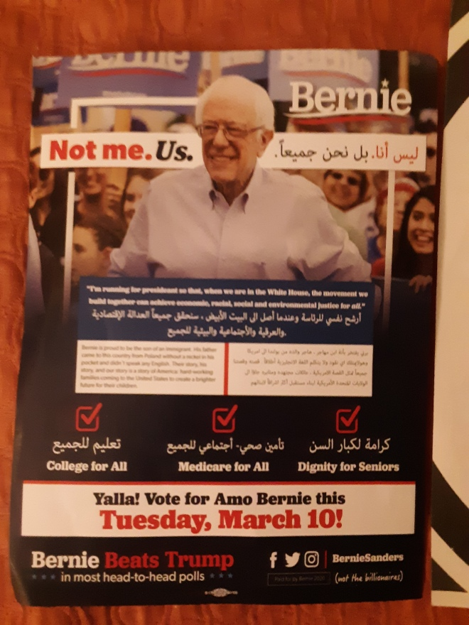 bernie flyer at house of wisdom mosque dearborn