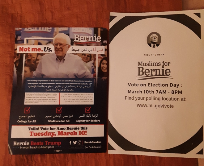 bernie flyer at mosque