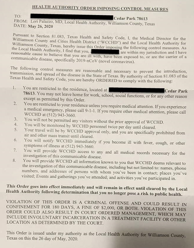 Williamson county Texas health director letter