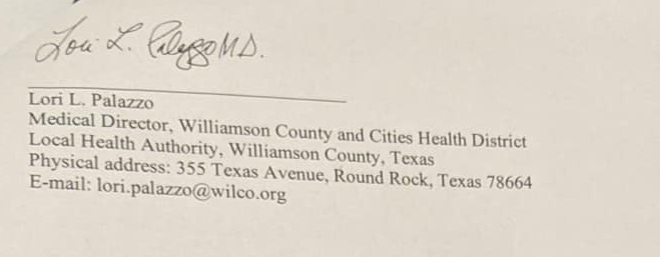 Williamson County Texas letter Lori Pallazo